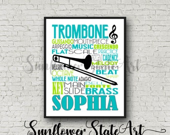 Personalized Trombone Poster Typography, Trombone Player Gift, Trombone Art, Trombone Gift, Custom Trombone, Gift for Trombone Player