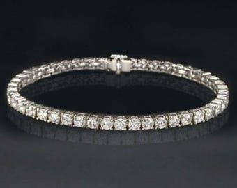 "17.79 CT TW Brilliant Round Cut Diamond 7"" Tennis Bracelet In Real 14K White Gold"