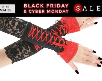 Black red long fingerless gloves, arm warmers in gothic, burlesque bohemian goth vampire lolita bridal gloves, womens evening glove 0810