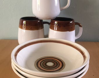 Curated breakfast trio circa 1970s ironstone white & brown Mod mugs and geometric patterned bowls for Boho or tropical Old Florida home!