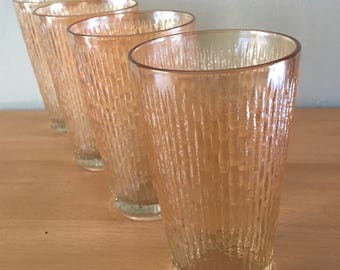 Stunning vintage set of 4 opalescent amber glasses in raised / textured bamboo pattern perfect for a Boho or tropical Old Florida home!