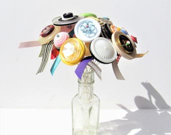 Button Flower Bouquet! Button flower posy in vintage glass bottle vase! Vintage buttons. Button flower ribbon posy. Home decor. Gift for her