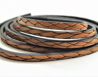 1,20 meter brown leather cord, width 5 mm