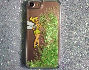 Tinkerbell - Disney phone case - Liquid Glitter Case iPhone 7 7 plus 6 plus 6s 6 SE 5 - samsung S7 S7 edge - iphone case - Fairy - Gift -