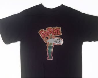 "70s Vintage Thin Popeye ""I Yam What I Yam!"" T Shirt"