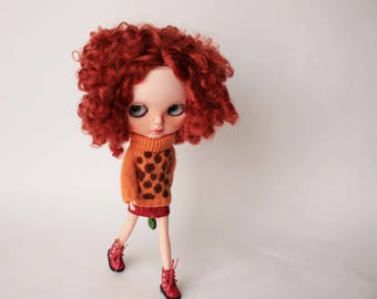 Blythe sweater,Handknitted Orange leopard Blythe doll sweater, Orange blythe outfit, Blythe orange wool pullover, Warm sweater for Blythe