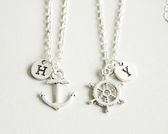 Anchor and Ship Wheel Necklace Set, Couples Necklace Set, Husband Wife, Girlfriend Boyfriend, Best Friends, Couples Gift, Anniversary Gift