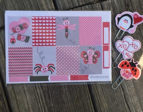 Love Bug Planner Pack Includes Planner Clips And Stickers/Ladybug Planner Clip/Valentine's Planner Clip