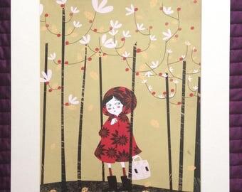 "Original rectangular drawing ""little Red Riding Hood"""