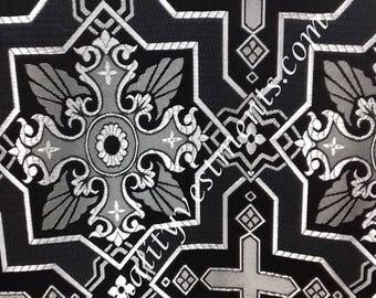 "CLEARANCE! 20% off Liturgical nonmetallic BLACK SILVER Brocade 59"" w 3 M piece"