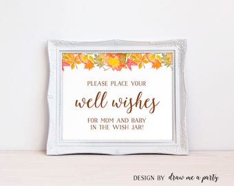 Fall Baby Wishes, Well Wishes For Mom and Baby Sign, Wishes For Baby Neutral, Wishes For Baby, Shower Activity, Printable, DIY