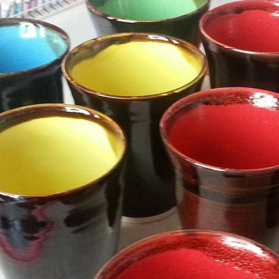 Handmade ceramic latte cups - MADE TO ORDER - black outside multicoloured inside - gifts for him - gifts for her - australian made