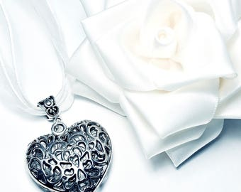 Silver Filigree Heart Necklace - Perfect Bridesmaid or Hen Night Gift