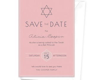 Bar & Bat Mitzvah Save the Date Card / Modern Religious Celebration / Star of David Save the Date / Typographic