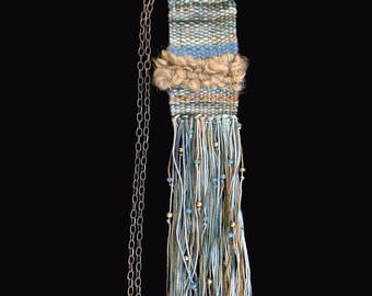 Handwoven necklace, hand dyed Lincoln Wool and cotton on a brass chain