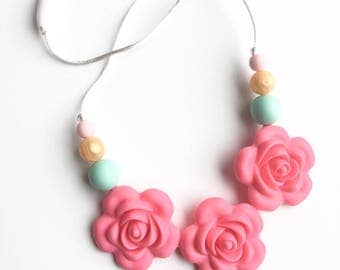 Flower Toddler Necklace, Rose Silicone Necklace, Flower Silicone Teething Beads, Letter Silicone Beads, Bite Beads, Chew Beads