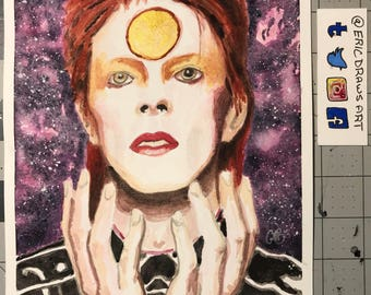 David Bowie watercolor portrait.