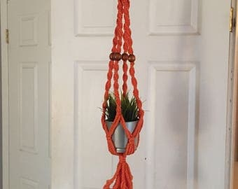 Vintage Orange Macrame Plant Hanger, with wood beads boho style plant hanger
