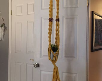 Vintage YELLOW Macrame Jute Plant Hanger, with wood beads boho style plant hanger. Large, 50""