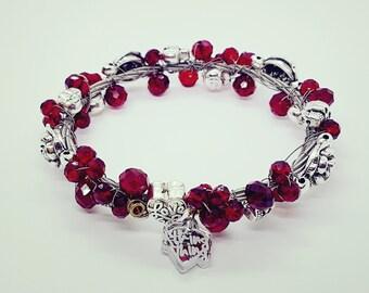 Guitar String Bracelet Jewellery Skulls & Roses Handmade - Ruby Red