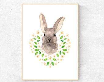 Bunny with Daisy Watercolour - A4 Premium Print