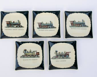 Set of 5 Vintage Locomotive Freight Train Railroad - Concave Small Square Dish Plates