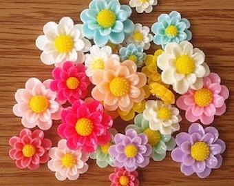 6 x 12-27mm flower embellishment mix color flower cabochons