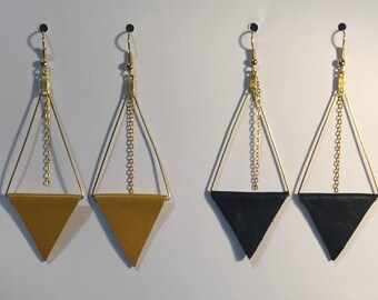 Leather and metal pyramid earrings
