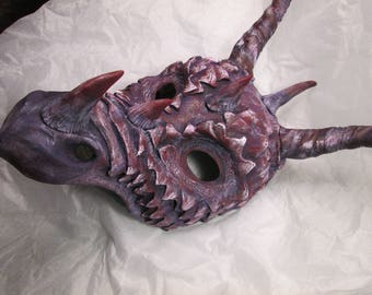 Fantasy Dragon mask, Masquerade, costume mask, handmade, hand painted, cosplay mask, spikes, horned dragon, made to order, dragon mask
