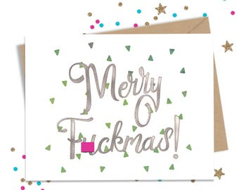 Mature Holiday Card, Funny Holiday Card, Glitter Greeting Card, Funny Christmas Card, Holiday Card for Him, Holiday Card for Her, Happy