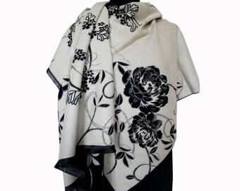 White Scarf, Boho Shawl, White Floral Shawl, Large Pashmina Scarf, Fashion Shawl, Mothers Day Gift, Women Scarf, Floral Scarf