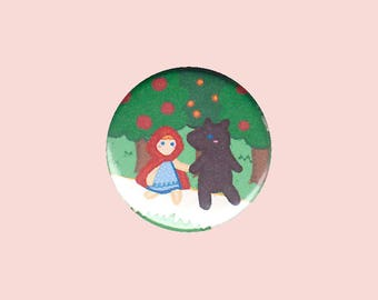 Little Red Riding Hood Badge - fairy tale pin, big bad wolf button, cute bad wolf pin