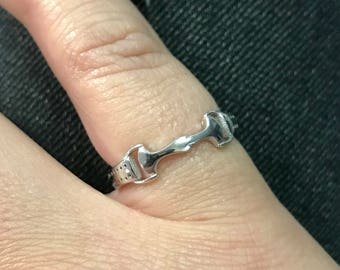 Sterling Silver Snaffle Bit Ring   Equestrian Jewelry   D Ring Bit