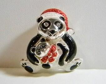 Silver Tone Black Enamel Holiday Christmas Panda Bear Pin Brooch