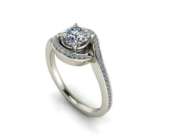 18K white gold twisted shank engagement ring