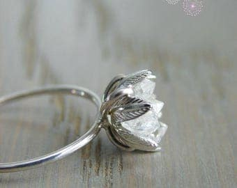 Raw Herkimer Diamond Ring, Wedding Day Gift for Woman, Raw Crystal Ring for Her, Engagement Ring, Wife Anniversary, Girlfriend Gift