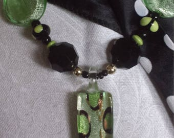 Necklace Black and Lime Green