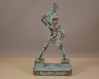 Vintage  solid brass Colossus of Rhodes ,greek heavy statue.green blue patina