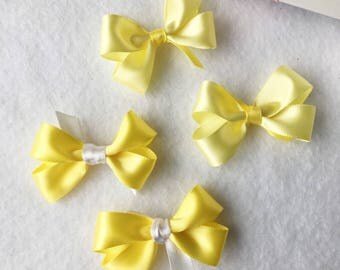 Yellow Mini Hair Clips, Yellow Hair Bows, Small Hair Bows, Small Hair Clips, Baby Bows, Hair Bow Set, Toddler Hair Bows, Girls Hair Bows