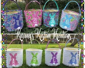 Monogram bunny buckets, easter baskets, easter bucket, personalized easter basket, bunny basket