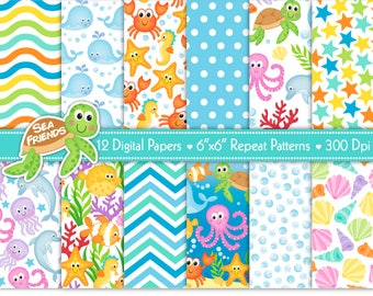 Sea Animals Digital Paper Set,Under The Sea Digital Paper Set,Ocean Digital Papers,Under The Sea Backgrounds,Scrapbook Papers,Commercial Use