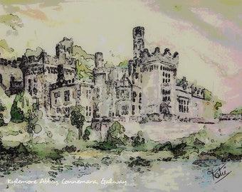 Kylemore Abbey, Connemara, Galway, Landscape Art, Fine Art Prints