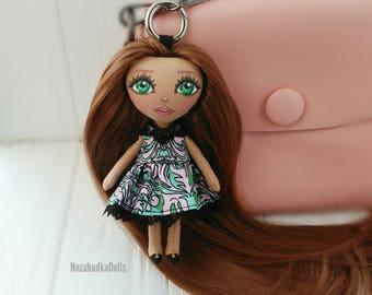 Bag Charm Birthday gift for daughter Keychain doll Handmade Ragdolls Art doll Ooak For Her Rag doll Cloth doll Fabric doll Soft toy Stuffed