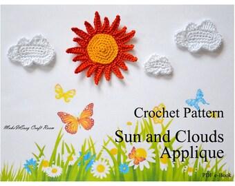 Sun and clouds crochet pattern Crochet sun embellishment Crochet clouds Sun crochet pattern Digital download