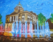Hull city hall and queen Victoria Square fountains hull original acrylic painting hull2017