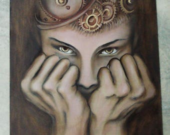 signed original painting oil on wood 30 x 30 cm Portrait steampunk