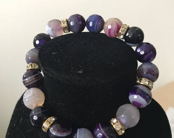 Gemstone beaded bracelet - available in purple and blue
