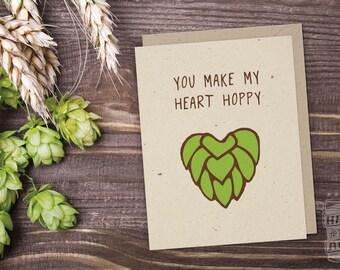 Hoppy Heart Beer Card; Craft Beer Lover, Beer Sayings, Beer Art, Greeting Card, Card For Men, Beer Hops, Valentine's Day