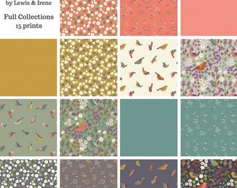 The Hedgerow Full Fat Quarter bundle 15 prints - The Hedgerow Lewis and Irene fabric Fat Quarters 100% cotton quilting dressmaking UK Shop
