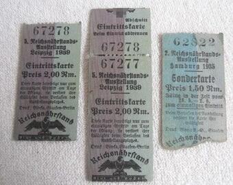 Rare tickets-Reichsnaehrstands-exhibition-Hamburg 1935-Leipzig 1939-Rare ticket agriculture
